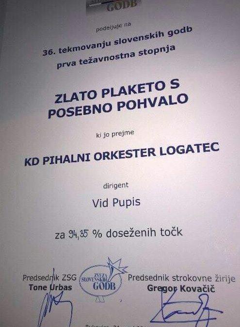 Zlato priznanje s posebno pohvalo na tekmovanju slovenskih godb
